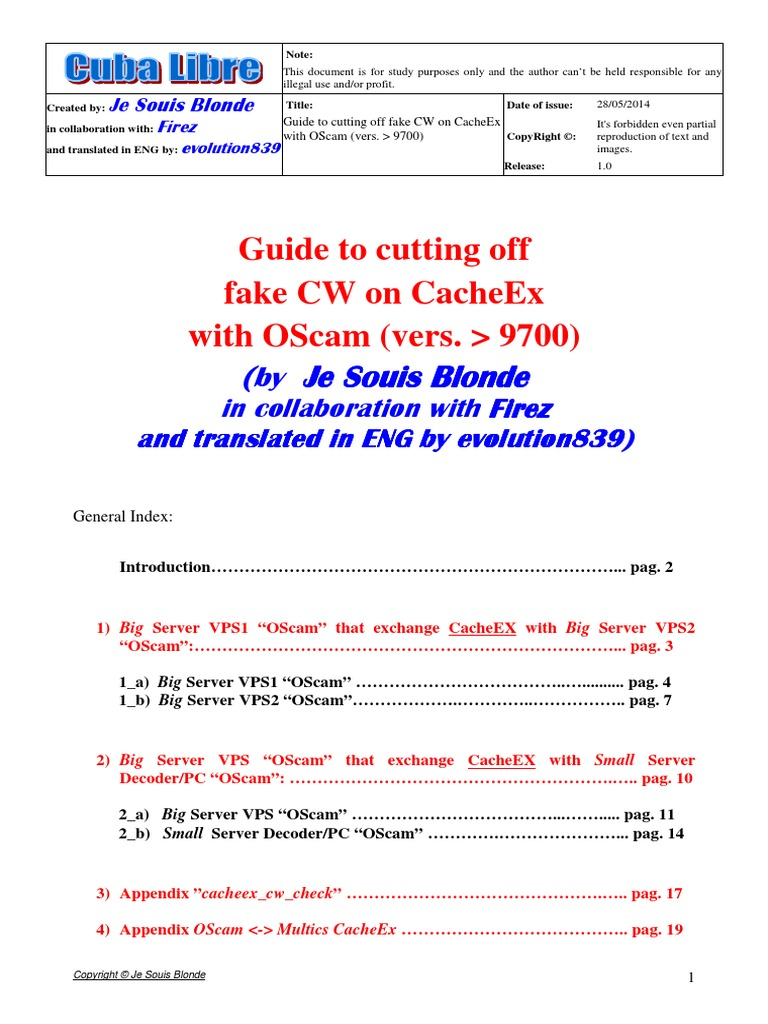 Guide Cutting Off Fake CW With CacheEx_OScam Vers  Sup  97xx