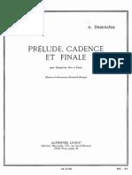 Prelude Cadence Et Finale, Desenclos. for Alto Saxophone and Piano