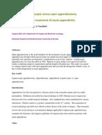 Laparoscopic Versus Open Appendectomy