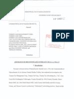 State of Massachusetts v. Carla Cosenzi and Thomas Cosenzi Settlement