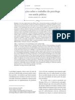 Considerações Sobre o Trabalho Do Psicólogo Em Saúde Pública