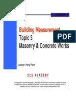 Topic 3 - Concrete and Masonry