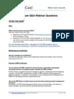 PMP Exam Q&A Webinar Questions