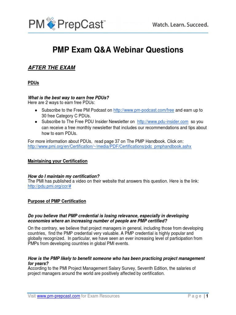 Pmp Exam Qa Webinar Questions Project Management Professional