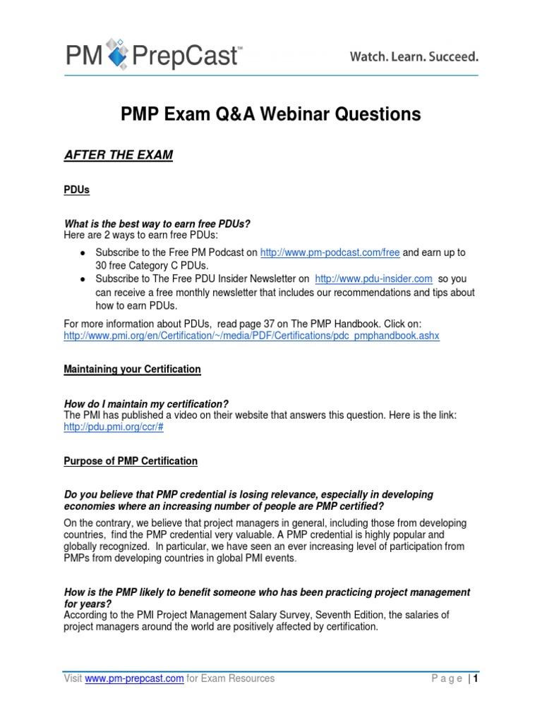 Pmp Exam Qa Webinar Questions Project Management Professional
