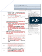 combined writing evidence tables
