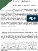 L'Histoire d'Un Néologisme. Le Terme Inculturation» Dans Les Documents Romains (NRT 110-4 (1988) p.555-570, Nicolas Standaert Sj)