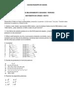 Plan de Mejoramiento Segundo Periodo Matemáticas Todos Los Cursos