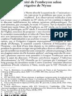 Mariette Canévet, L'Humanité de l'Embryon Selon Grégoire de Nysse NRT 114-5 (1992) p.678-695