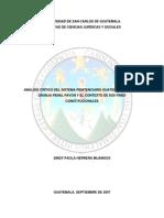Análisis Crítico Del Sistema Penitenciario Guatemalteco en La Granja Penal Pavón y El Contexto de Sus Fines