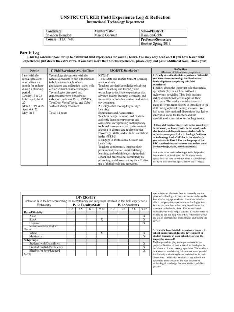 Itec 7410 Unstructured Field Experience Log Herndon Educational