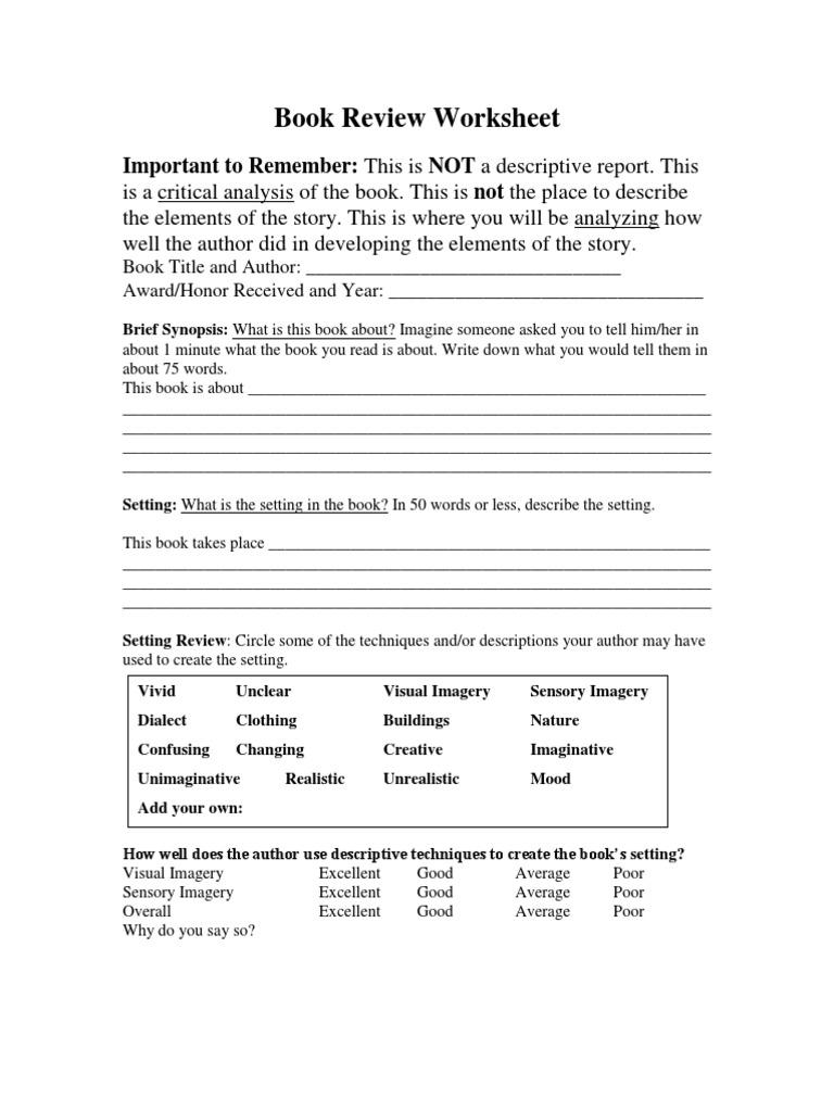 Worksheets Sensory Imagery Worksheet book review worksheet plot narrative