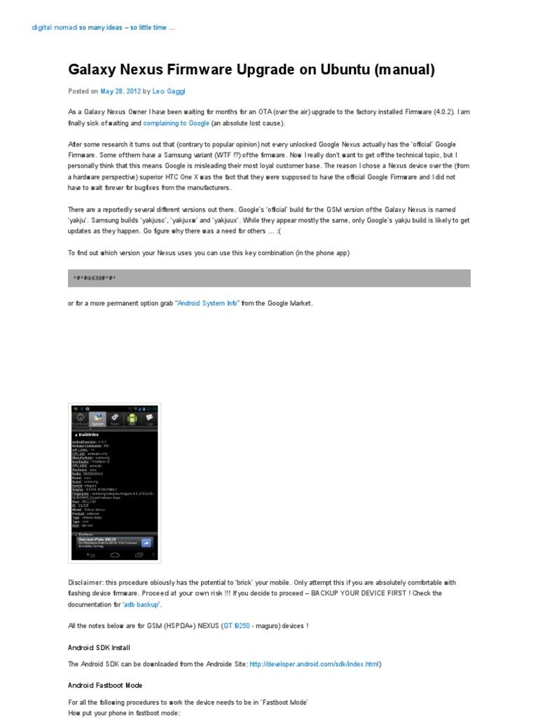 Galaxy Nexus Firmware Upgrade on Ubuntu (Manual) _ Digital Nomad