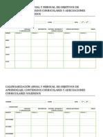 Calendarizacion Anual y Mensual de Objetivos de Aprendizaje Hoja 1