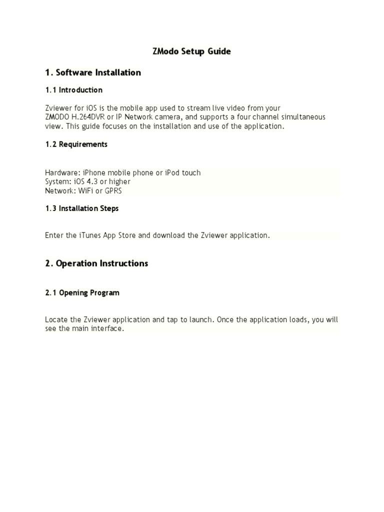 ZModo Setup Guide | Ios | System Software