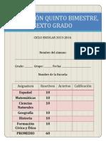 6° GRADO, EXAMEN QUINTO BIMESTRE
