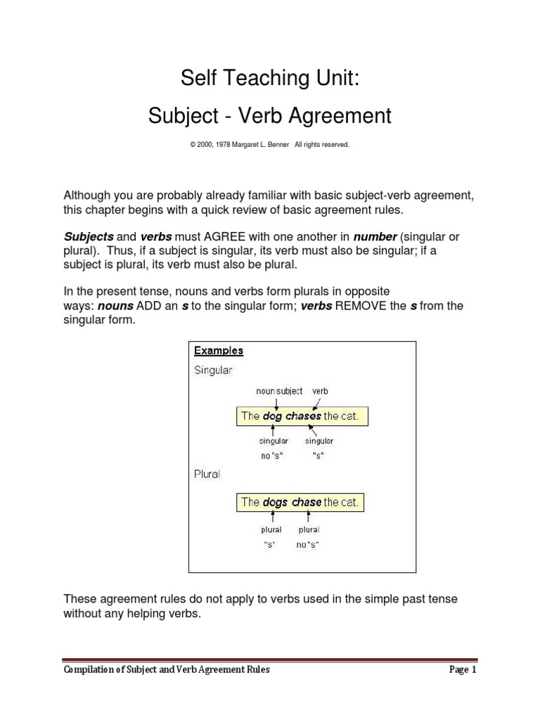 Subject And Verb Agreement Rules Grammatical Number Subject