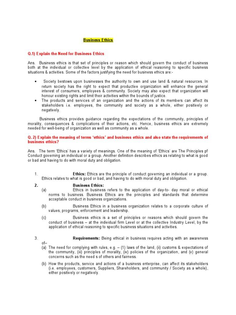 business ethics notes | business ethics | sustainability