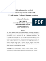 The Riccati equation method with variable expansion coefficients. IV. Solving the Fitzhugh-Nagumo equation.