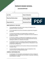 Head of Education Job Description