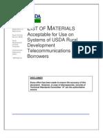 USDA RUS - List of Materials for Use by USDA Rural Development Telecom Borrowers 10-16-2009