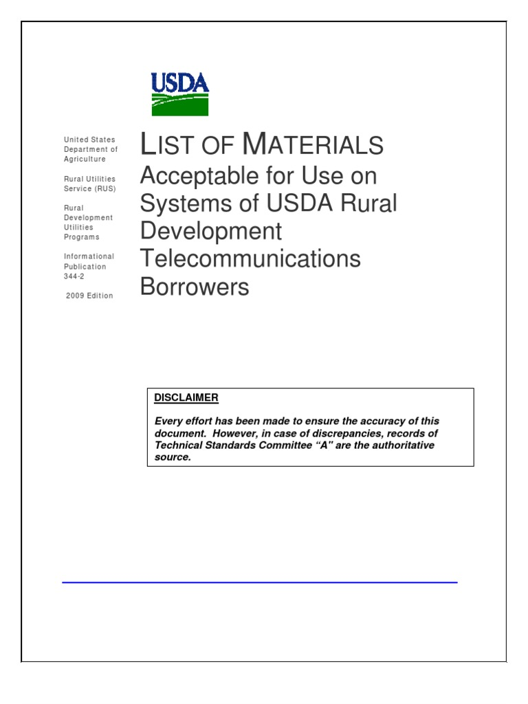 USDA RUS - List of Materials for Use by USDA Rural