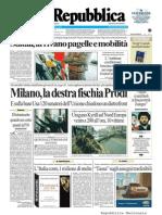 La Repubblica prima pagina 19 gennaio 2007