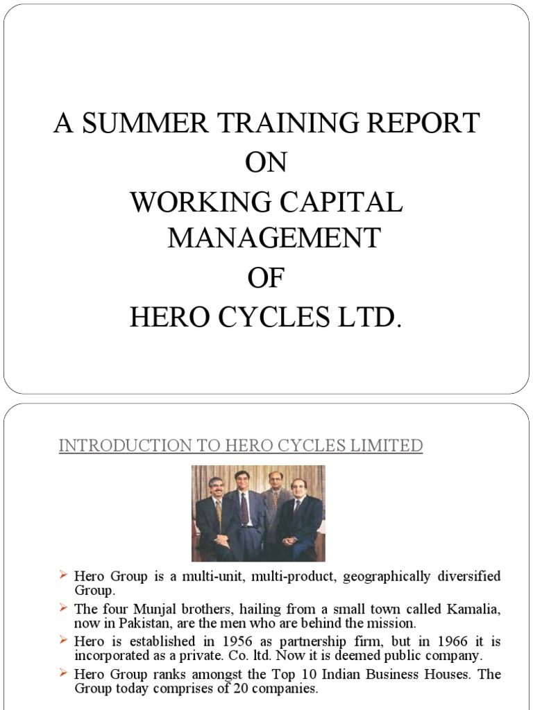 Report on Summer Training at Hero Cycles Ltd | Working