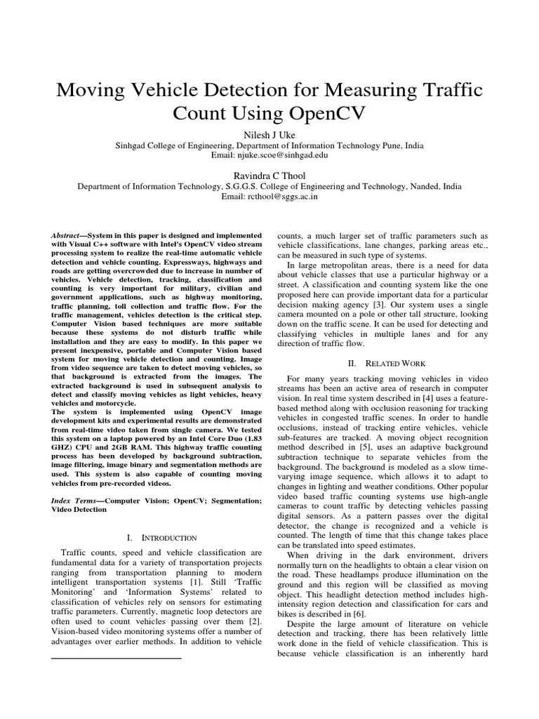 Moving Vehicle Detection for Measuring Traffic Count Using