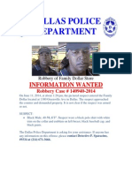 Family Dollar Robbery Bulletin