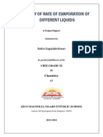 Study of Rate of evaporation of liquids