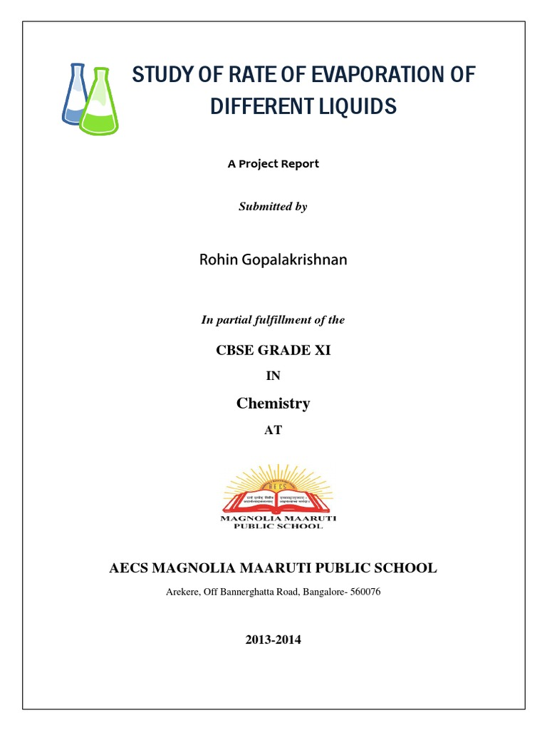 rate of evaporation of different liquids project