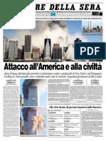 La prima pagina del Corriere dopo l'attacco alle torri gemelle