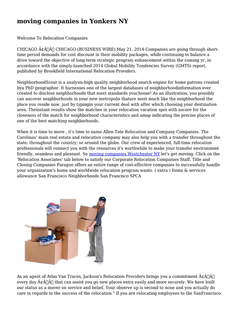moving companies in Yonkers NY | Employment | Outsourcing