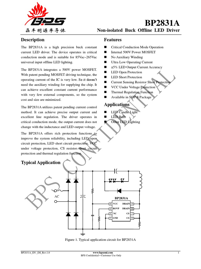 Bp2831a En Ds Rev10 Mosfet Electrical Engineering Led Light System Circuit