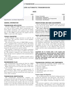 30RH & 32RH AUTOMATIC TRANSMISSION | Manual Transmission