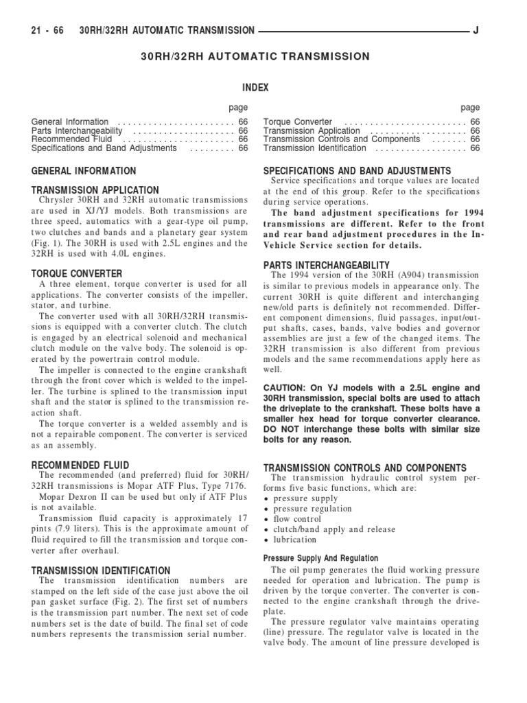 30RH & 32RH AUTOMATIC TRANSMISSION | Manual Transmission | Automatic  Transmission