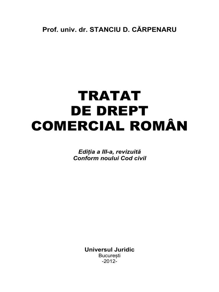 De drept comercial pdf download carpenaru tratat
