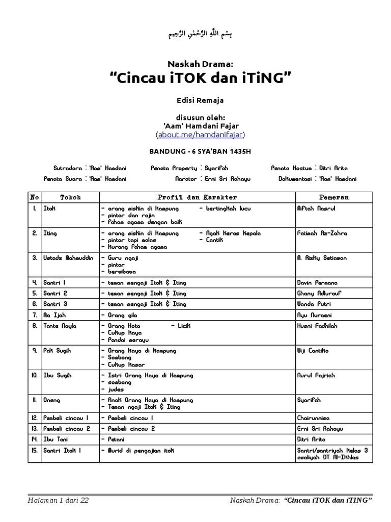 "Naskah Drama Kabaret Islami ""Cincau Itok Dan Iting"" Edisi"