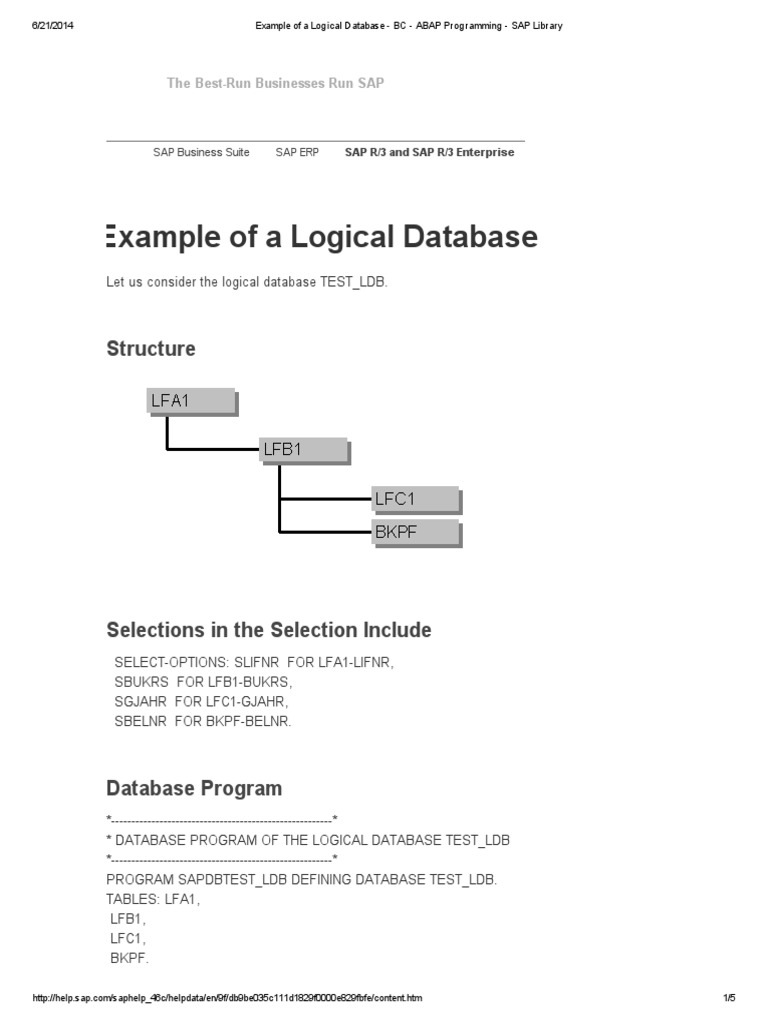 Example of a Logical Database - BC - ABAP Programming - SAP