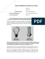 Technical Ratings to Facilitate the Selection of a Lamp