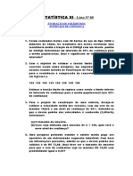 LISTA Nº 08-Estimação de Parâmetros-Intervalo de Confiança. (1)