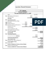 Corporation Financial Statement Specimen