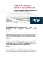 Modelo de Contrato de Arrendamiento de Un Vehículo