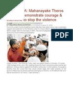 SRI LANKA Mahanayake Theros Needs to Demonstrate Courage & Intervene to Stop the Violence
