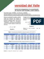 Estudio de La Influencia de La Temperatura y La Concentración Sobre La Velocidad de Reacción Entre Tiosulfito y Ácido Sulfúrico