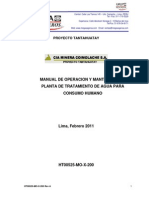 Manual de Operacion y Mantenimiento Planta de Tratamiento de Agua