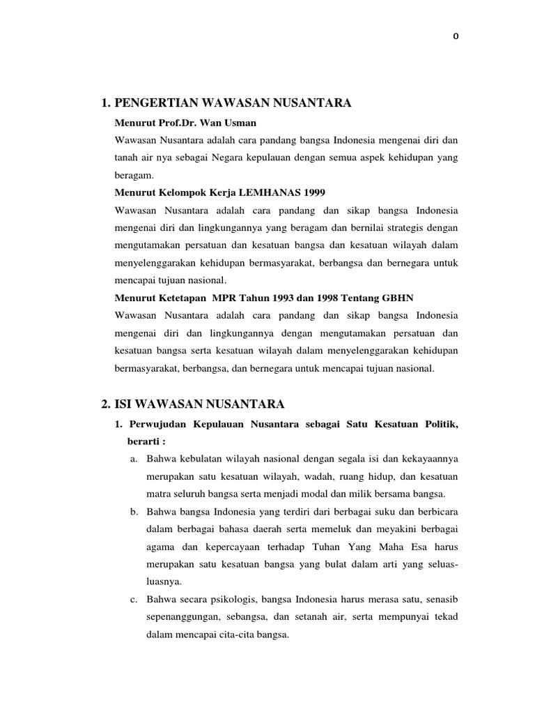 Makalah Wawasan Nusantara Sebagai Kesatuan Politik Ekonomi Sosial Dan Hankam