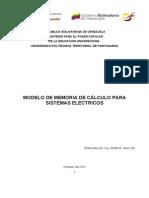 Modelo de Memoria de Cálculo Para Sistemas Electricos