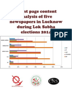 Frontpage Content Analysis of 5 Newspapers During Lok Sabha Elections 2014